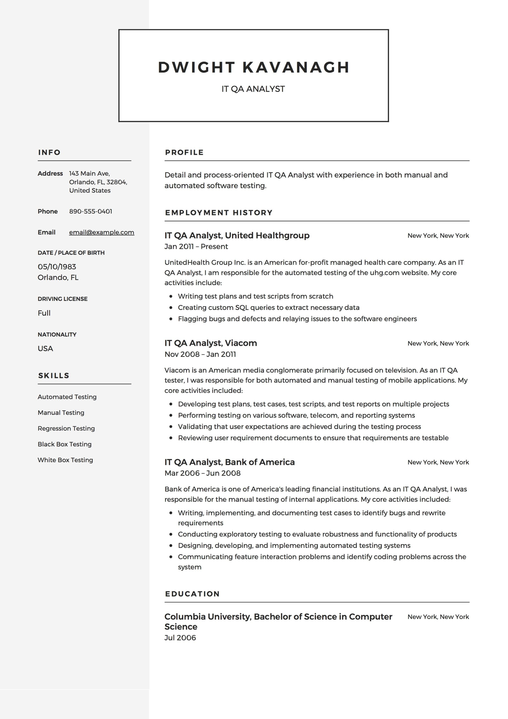 guide  it qa analyst resume   12  samples  u0026 examples