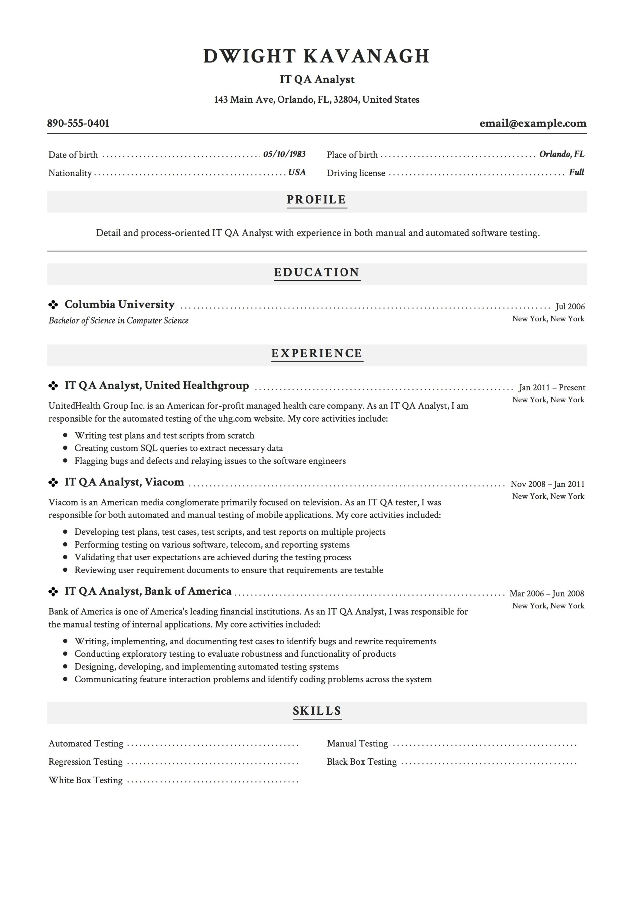 it qa analyst resume sample