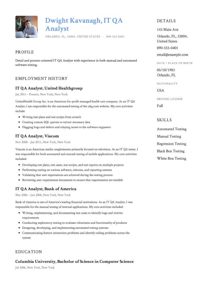 Guide: IT QA Analyst Resume [+12] Samples & Examples | PDF | 2019