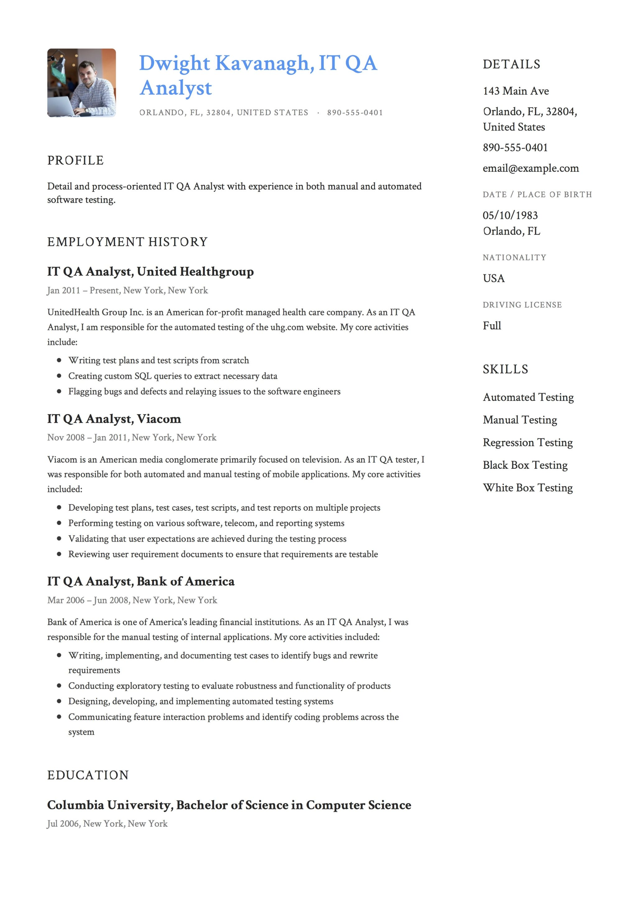 IT QA Analyst Resume Template  Quality Assurance Analyst Resume