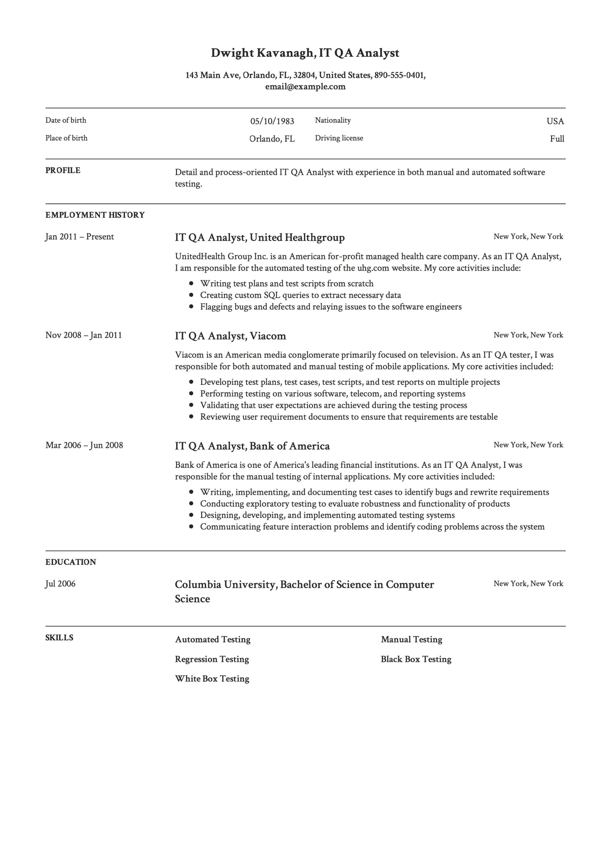 it qa analyst resume qa analyst resume - Quality Analyst Resume