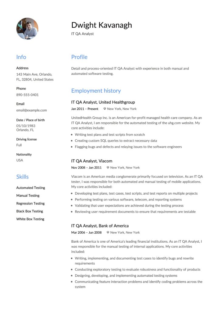 Guide It Qa Analyst Resume 12 Samples Examples Pdf