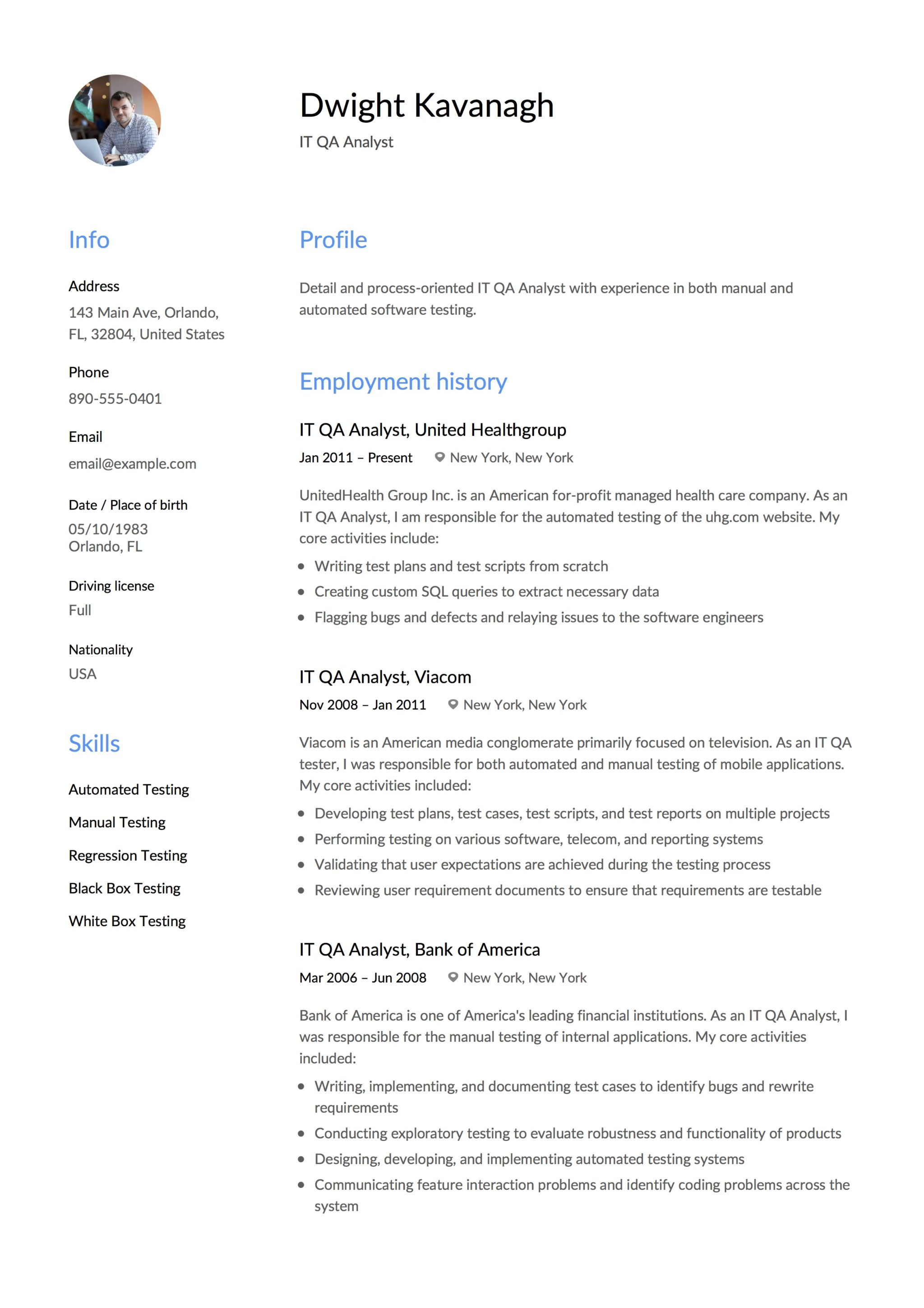 it qa analyst sample resume