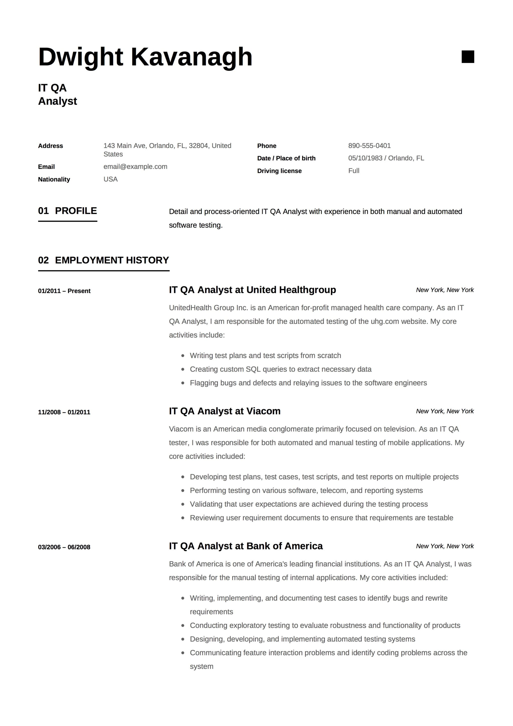IT QA Analyst Template Resume 1