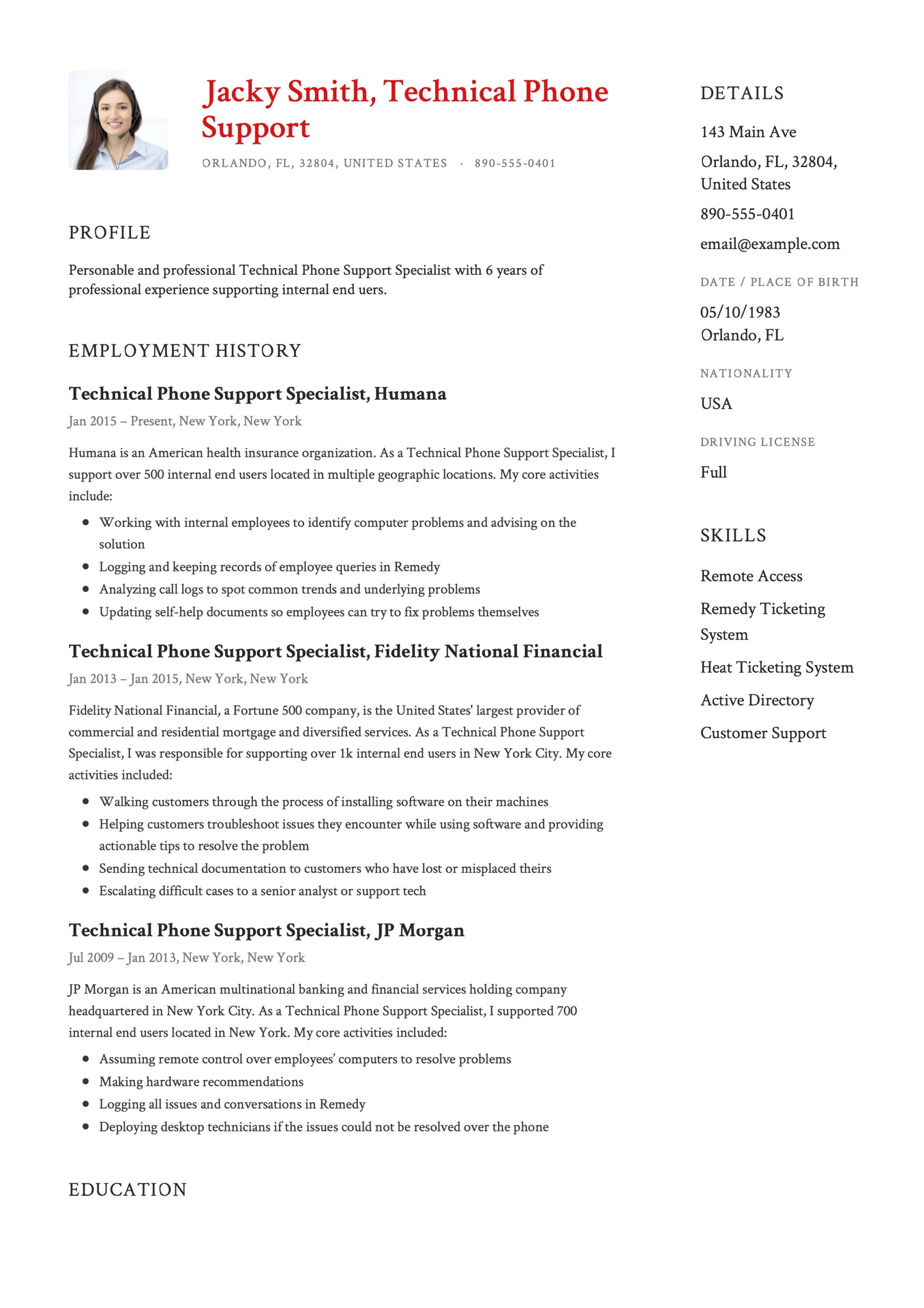 Jacky Smith Resume Technical Phone Support