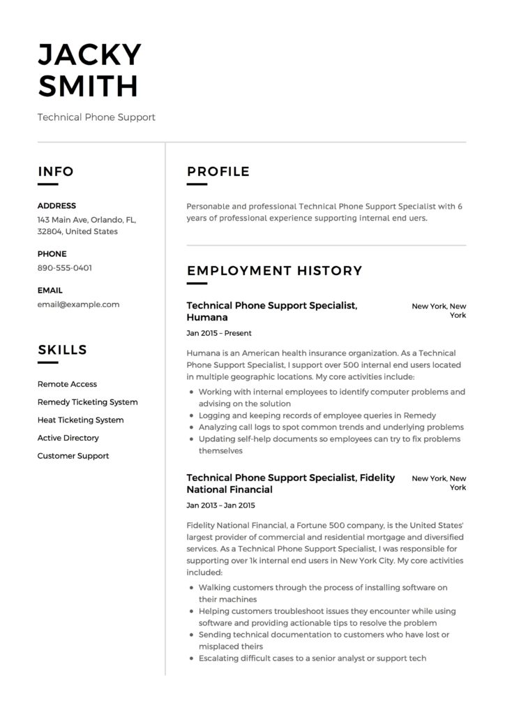 Jacky Smith - Resume - Technical Phone Support
