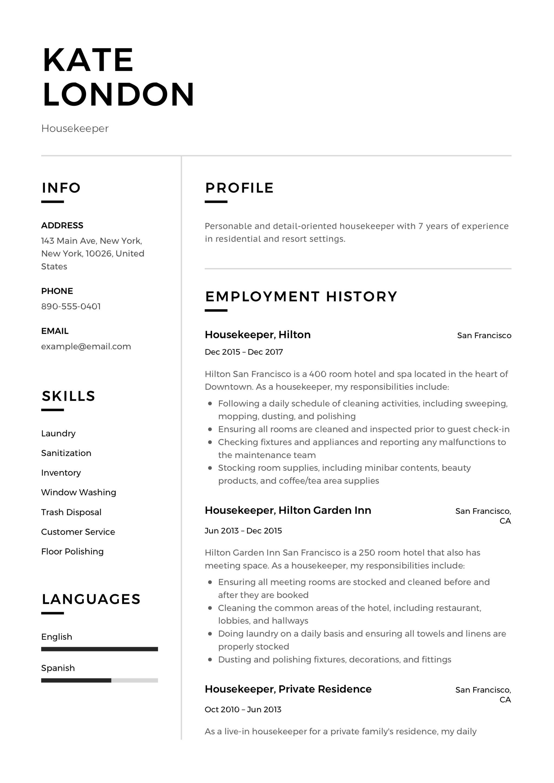 resume guide  housekpeer   12 resume samples
