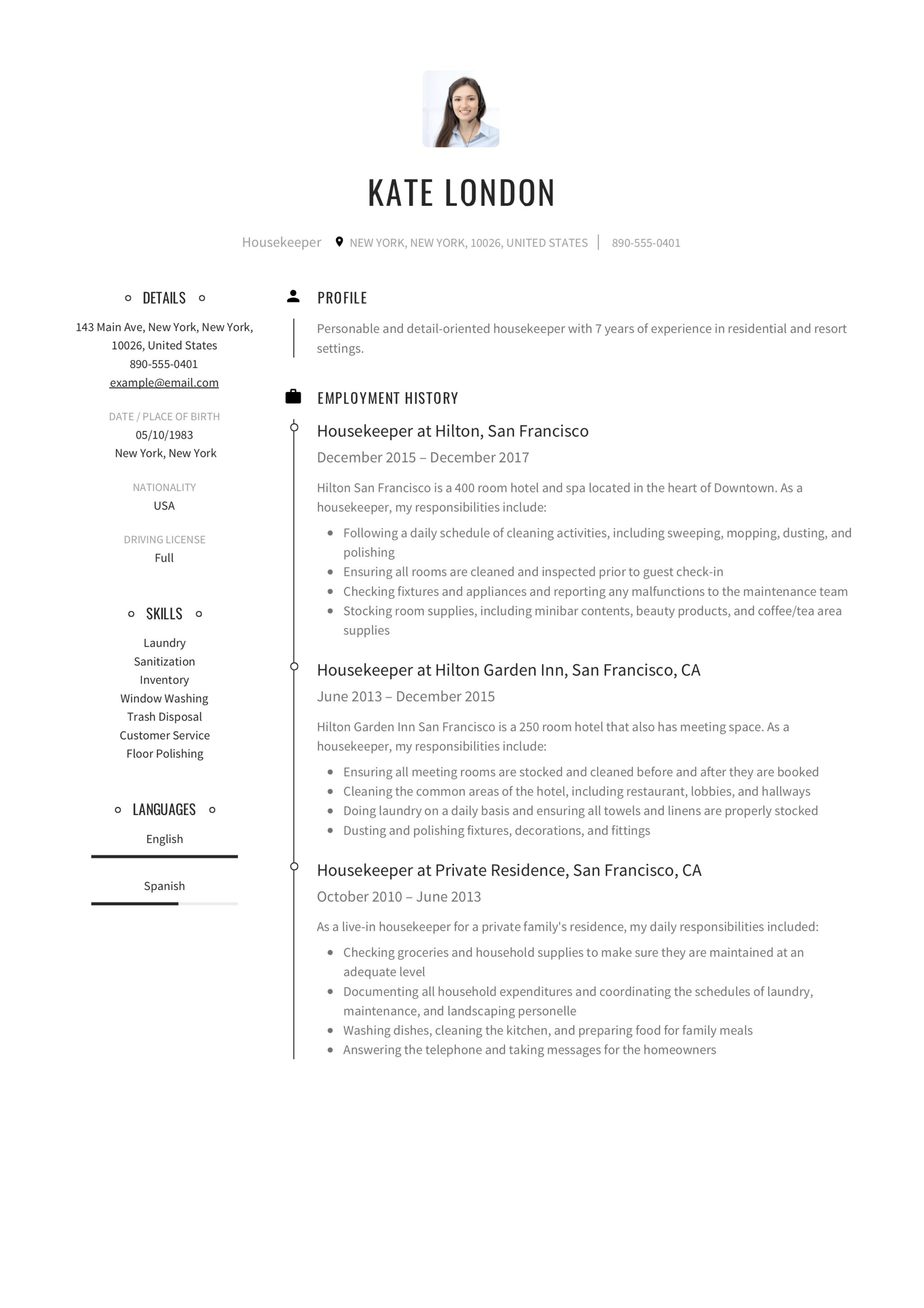 Resume Guide Housekpeer 12 Resume Samples Pdf 2019