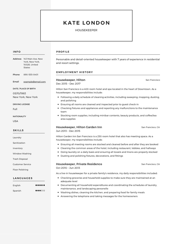 Resume Guide: Housekpeer + 12 Resume Samples   PDF   2019