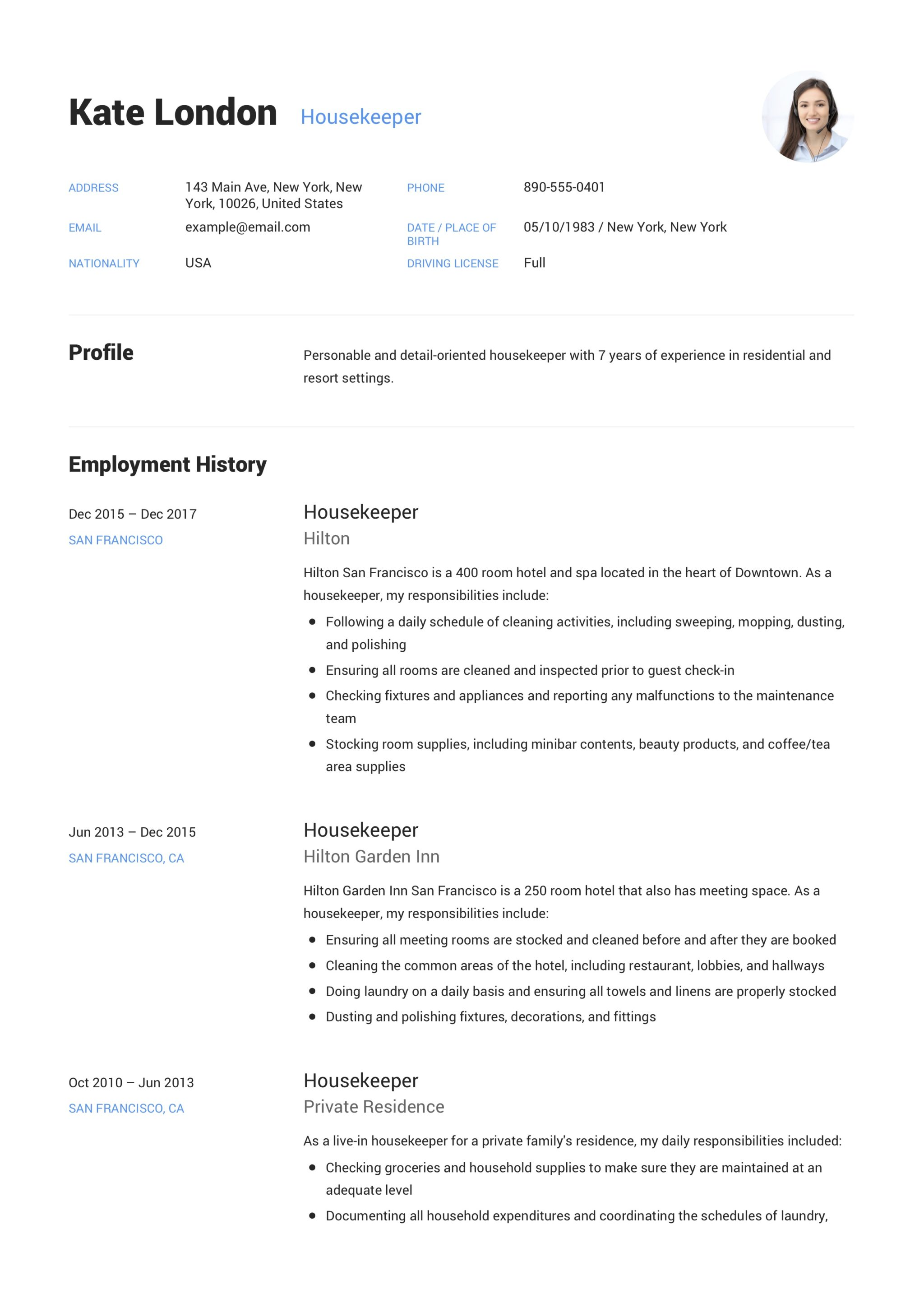resume guide  housekpeer   12 resume samples