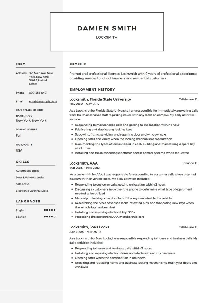 Locksmith Resume Template Resumeviking Com