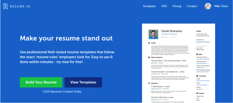 Homepage of resume.io where you can start to build your resume