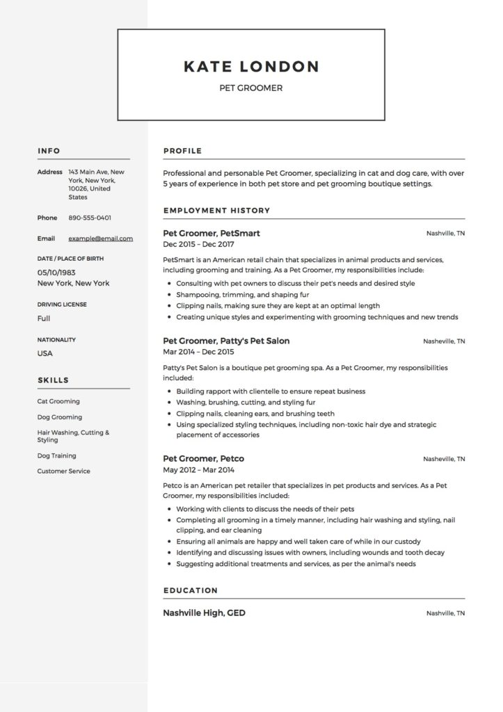 Pet Groomer Resume Sample
