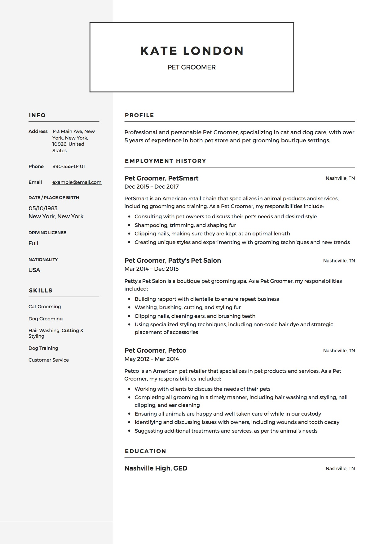 Pet Groomer Resume Sample  Dog Groomer Resume