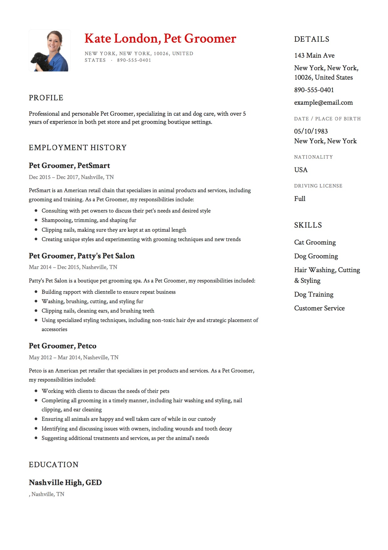 Pet Groomer Resume Template