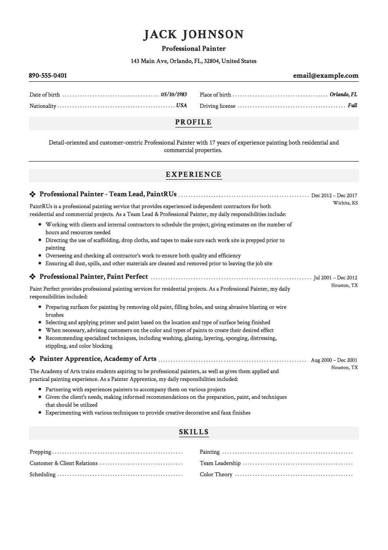 professional painter resume samples