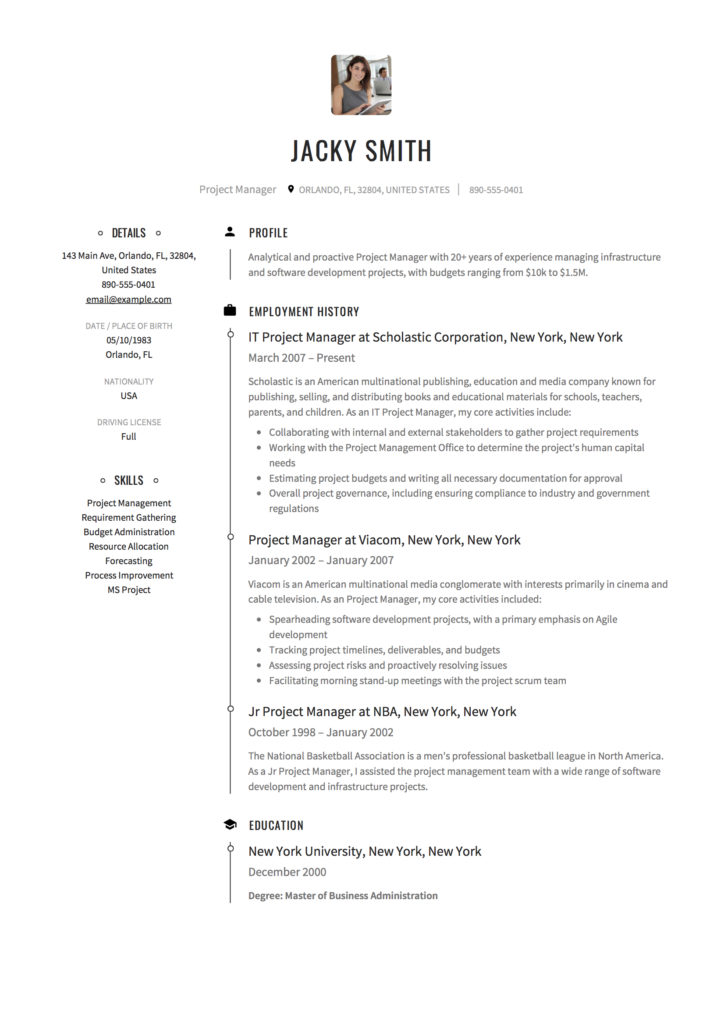 project manager resume  u0026 full guide