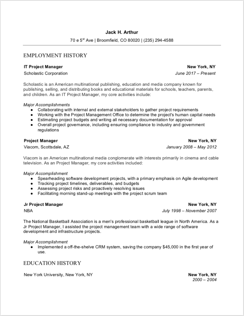 Project Manager Resume Sample Download In Microsoft Word