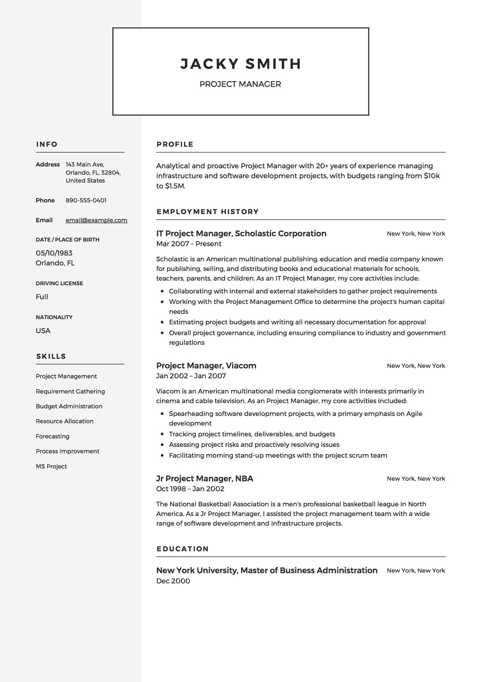 Project Manager Resume Example  Software Project Manager Resume