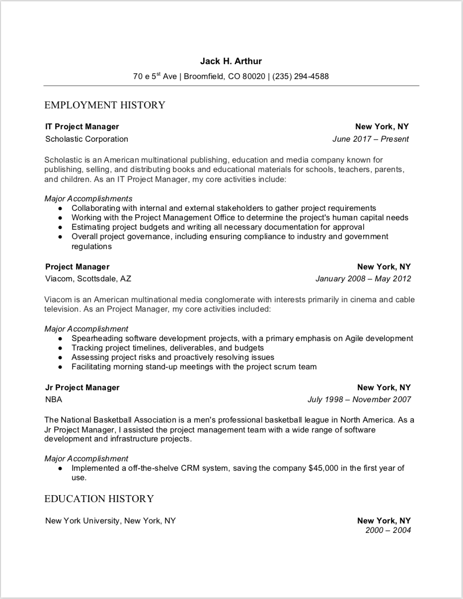 Project Manager Resume Full Guide 12 Examples Word