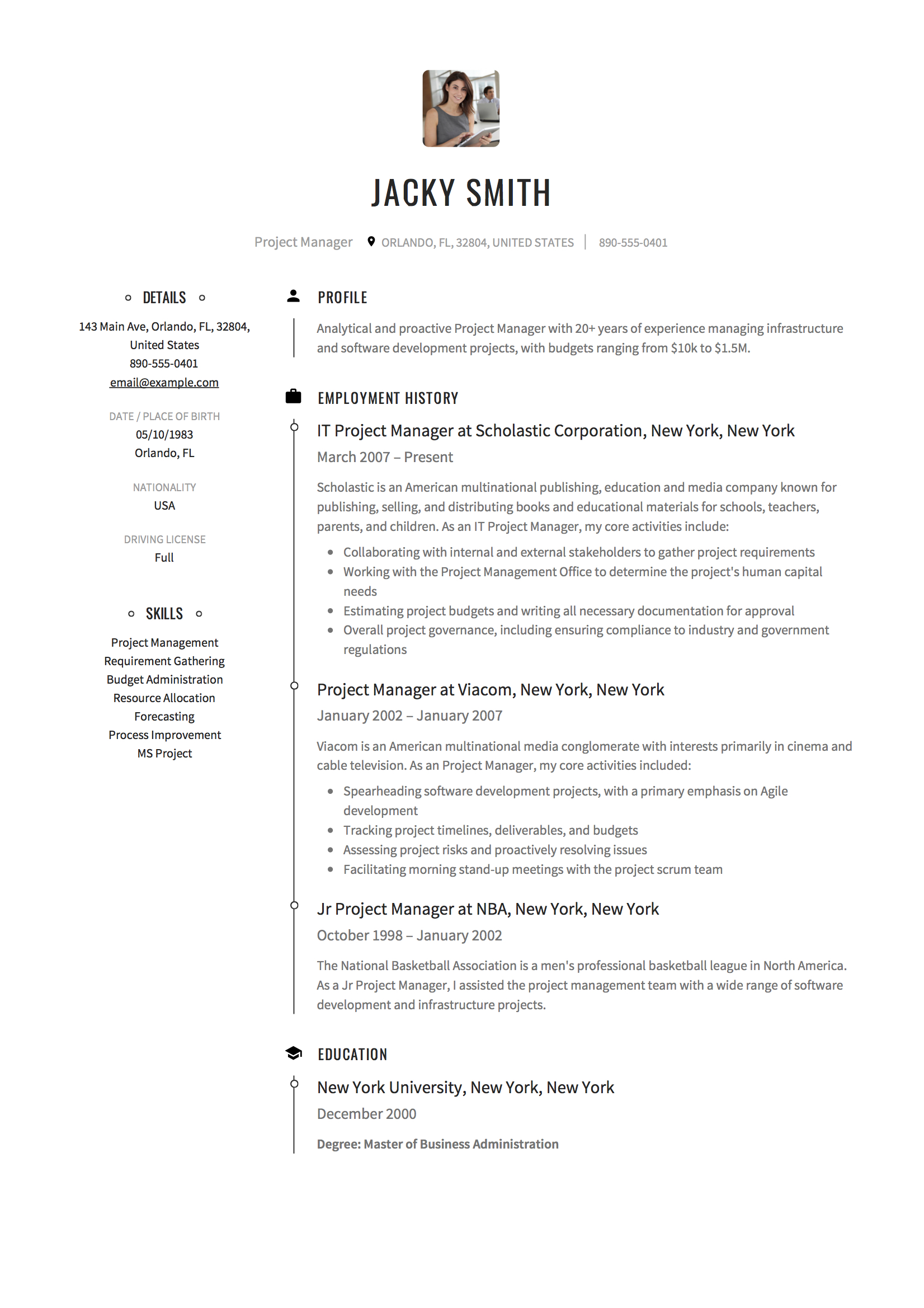 12 project manager resume samples 2018 free downloads project manager resume altavistaventures Image collections
