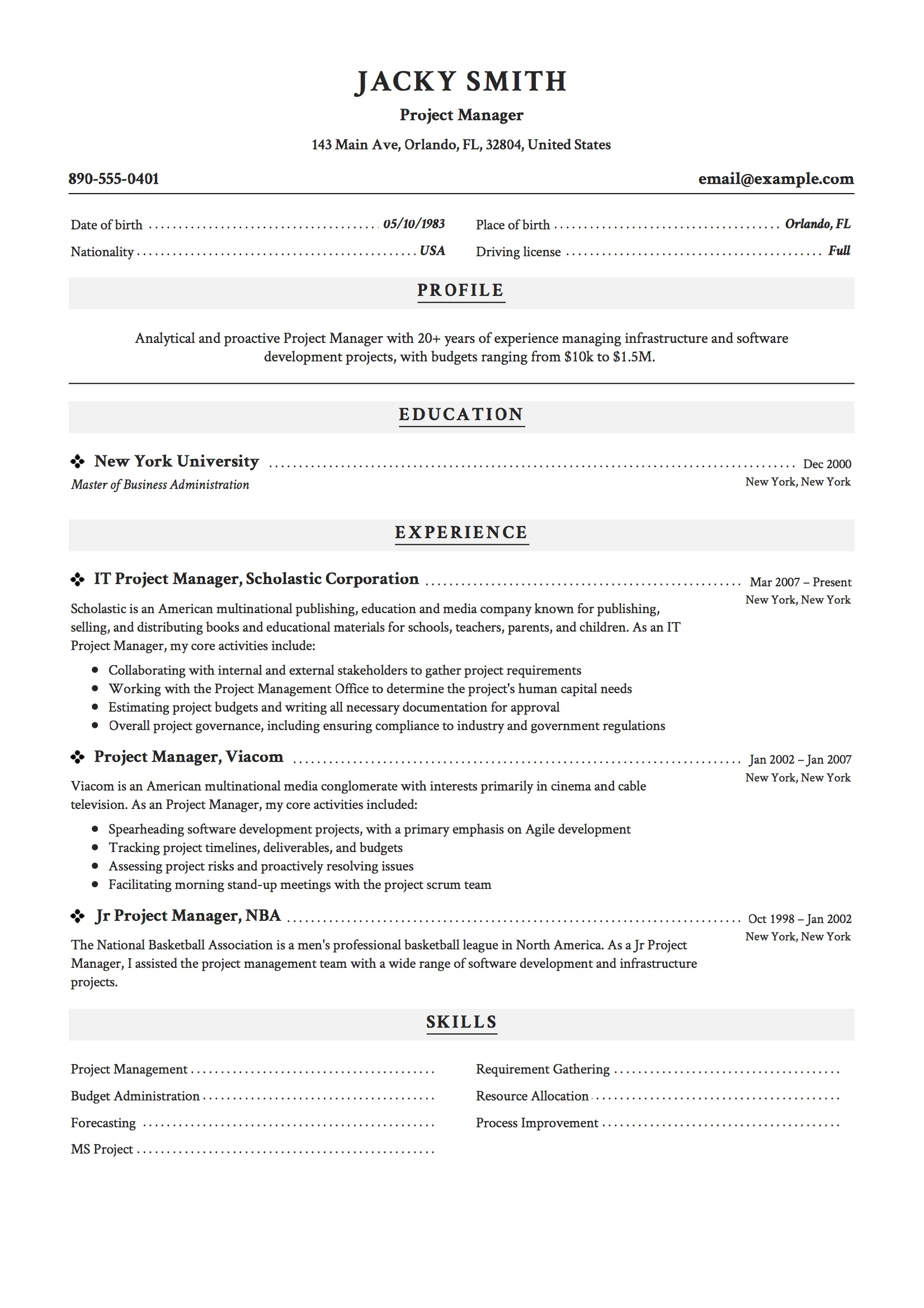 12 Project Manager Resume Samples 2018 Free Downloads