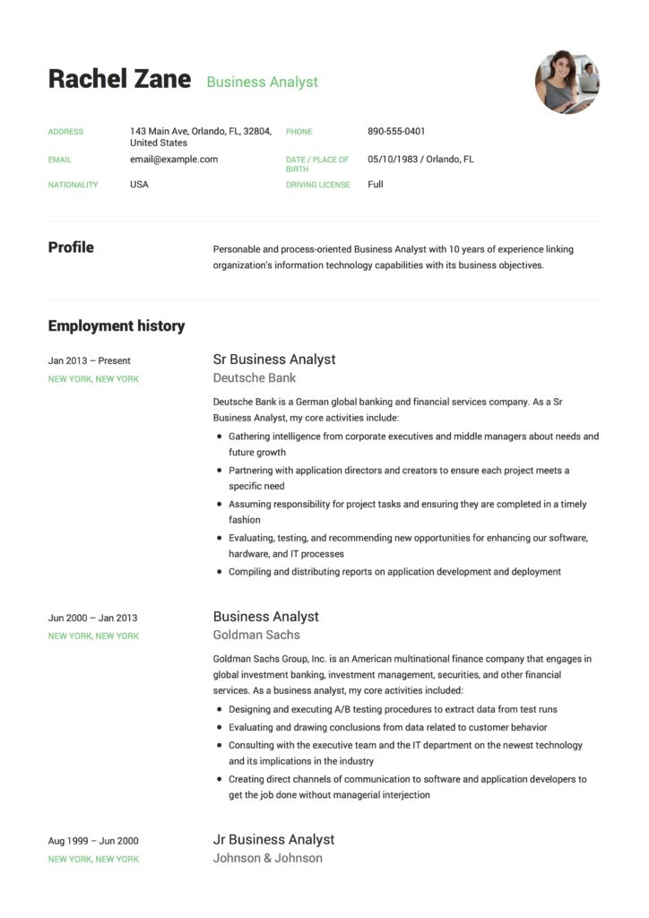 Resume Template Business 100