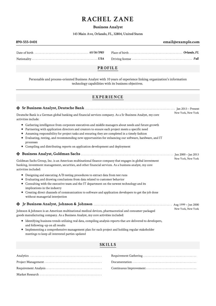 resume example business analyst