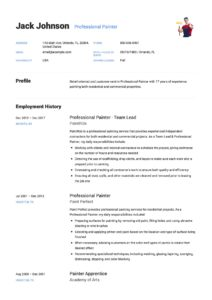 Resume Example Professional Painter