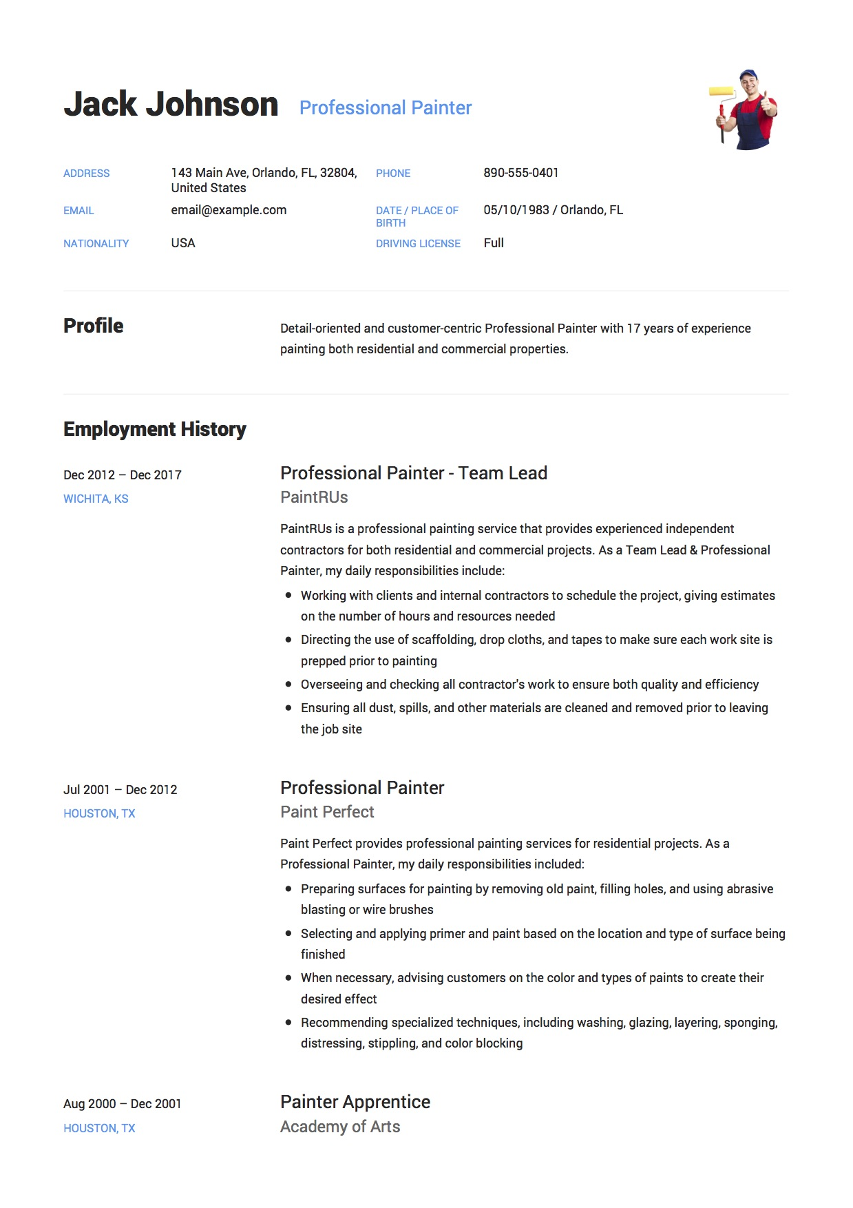 12 Commercial Painter Resume Sample(s)  2018 (free Downloads. Job Resume View. Letterhead Fonts Free. Curriculum Vitae Exemple Moderne. Resume Builder No Sign Up. Sample Cover Letter For Retail Ireland. Resume Sample Administrative. Resume Sample Research Assistant. Curriculum Vitae Ejemplo Estudiante