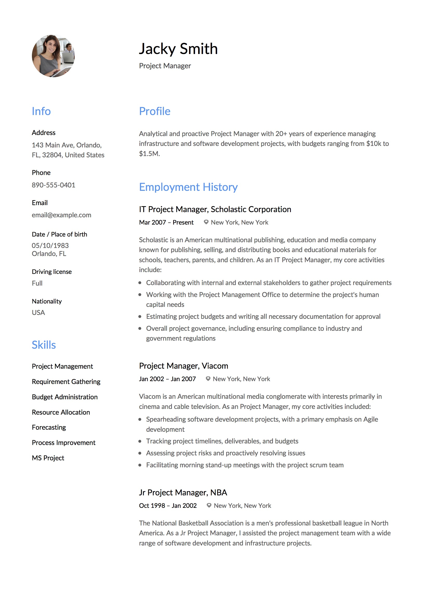 Resume Example Project Manager