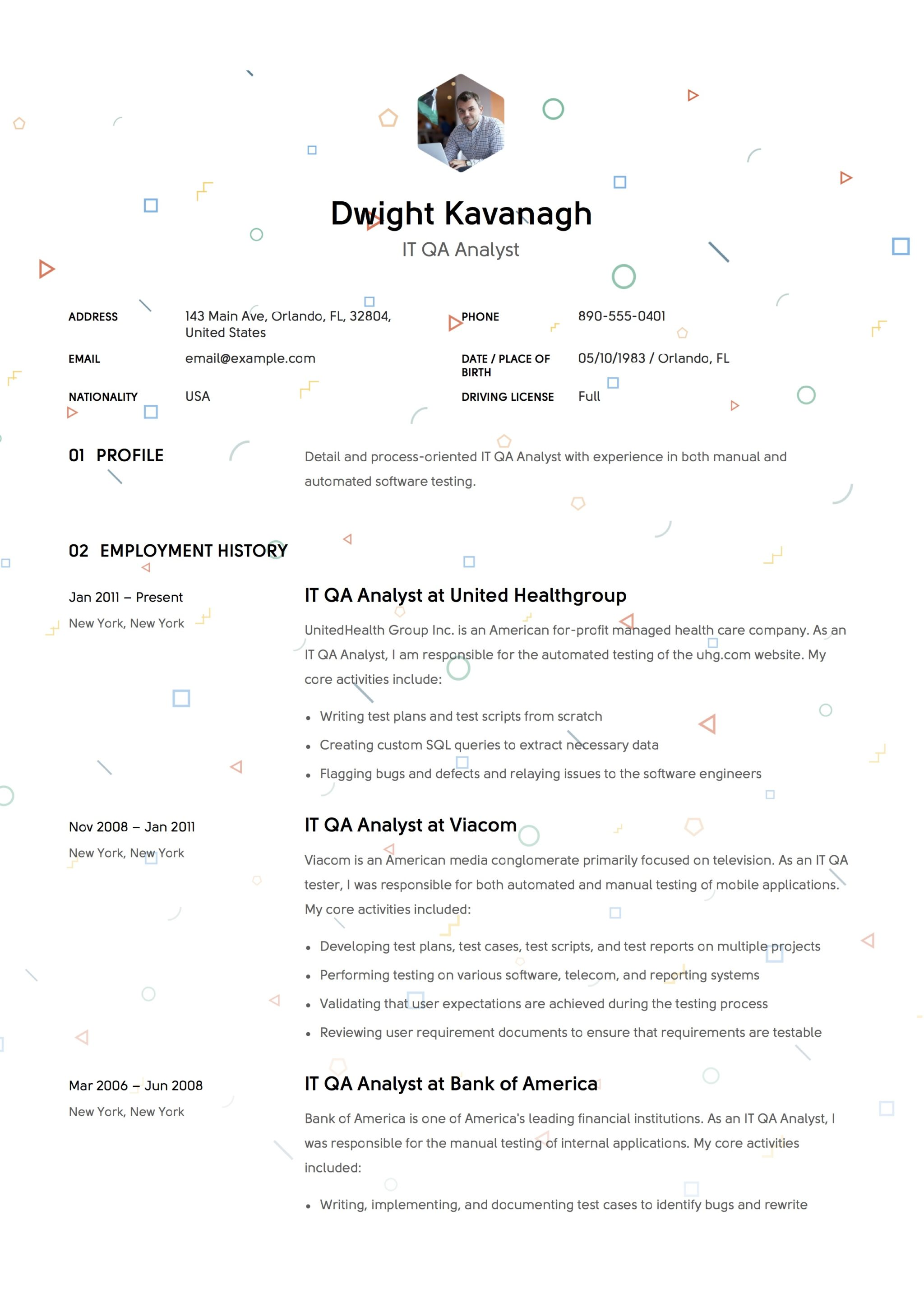 resume example qa analyst