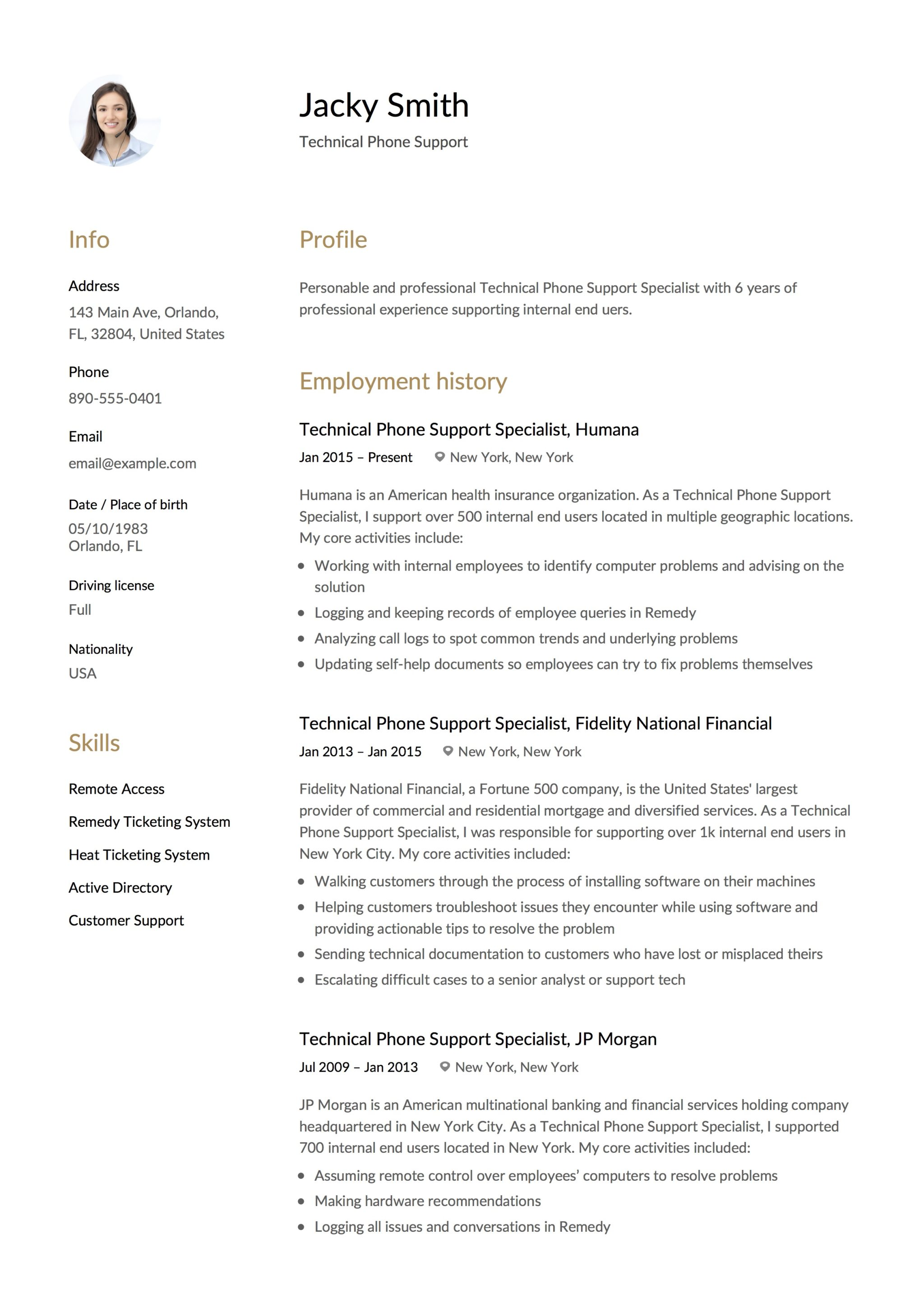 Resume Example Technical Phone Support