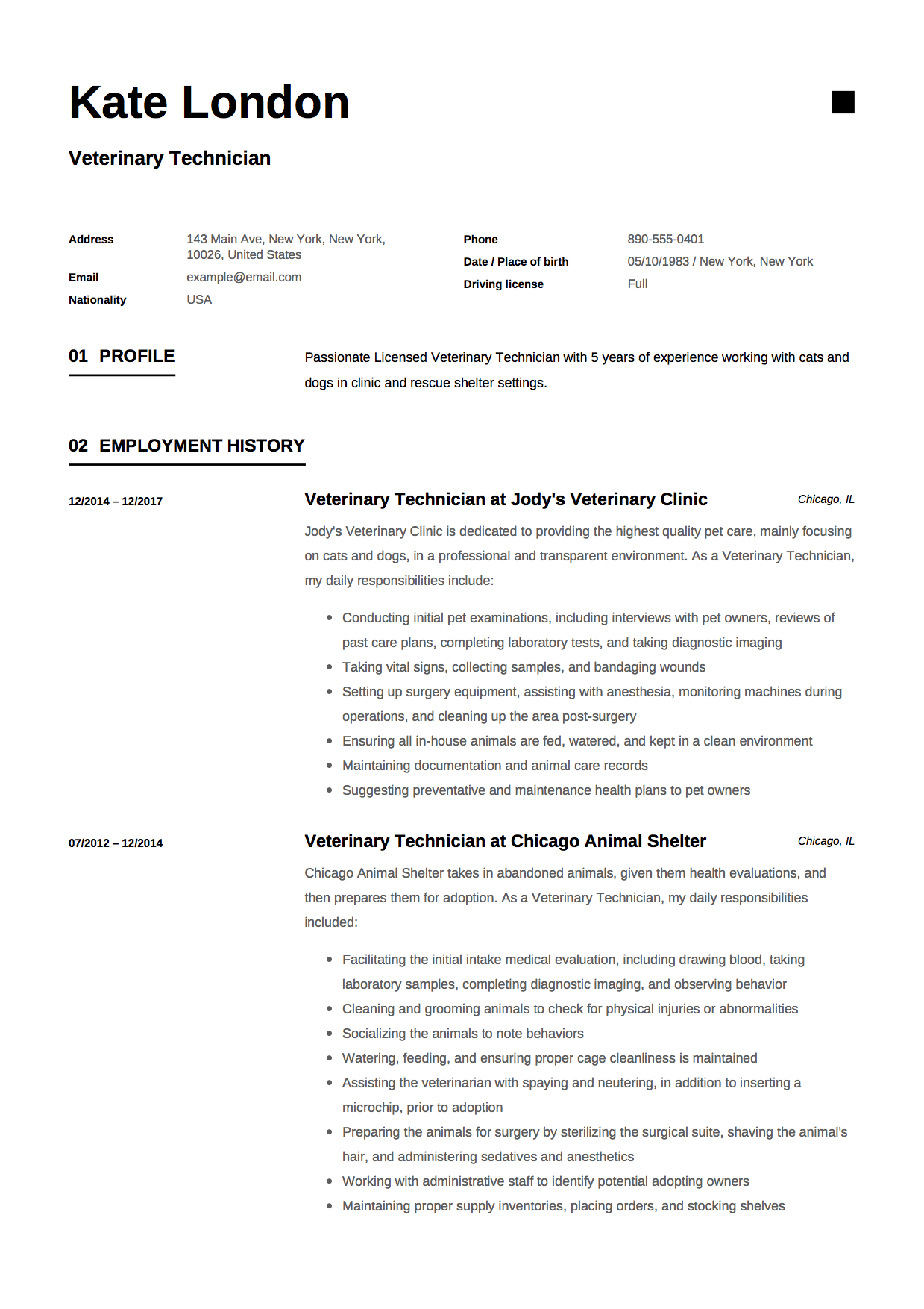 Resume Example Veterinary Technician