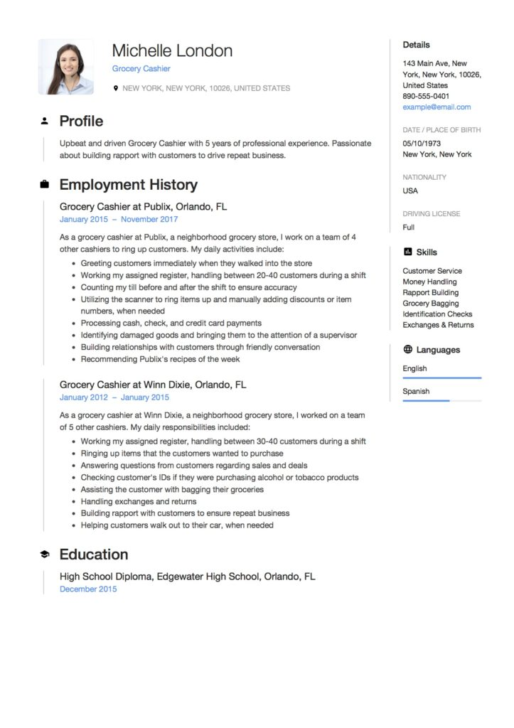 Resume Grocery Cashier