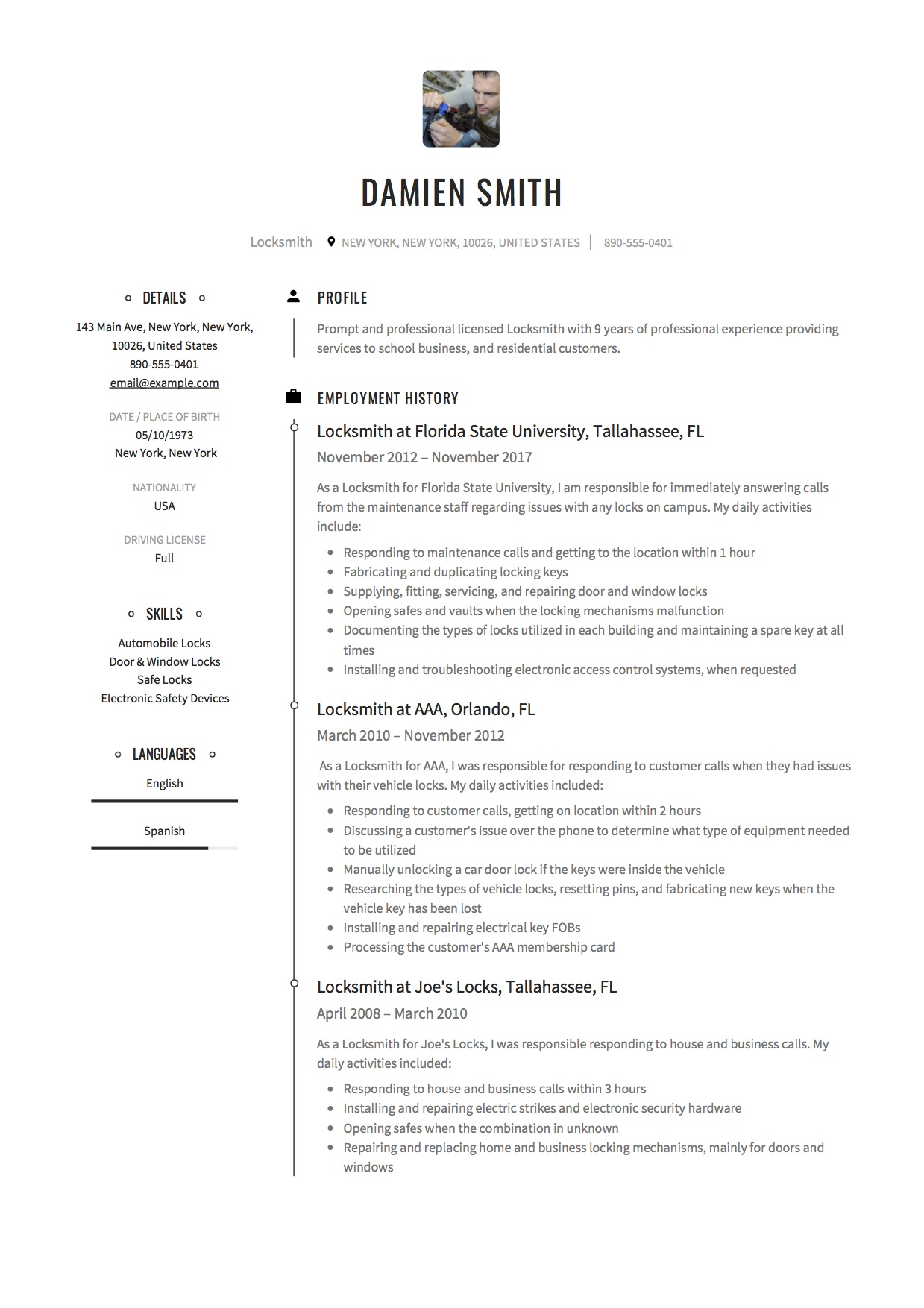 12 Locksmith Resume Samples 2018 Free Download Creative Designs