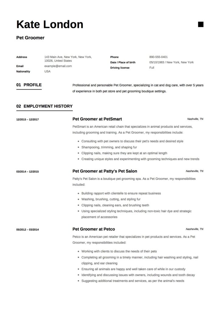 Resume - Pet Groomer