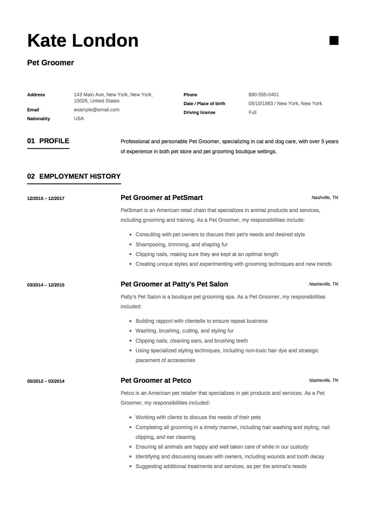 guide  pet groomer resume example     12 samples