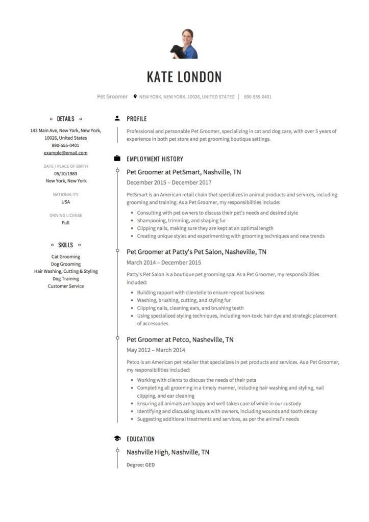 Resume Pet Groomer