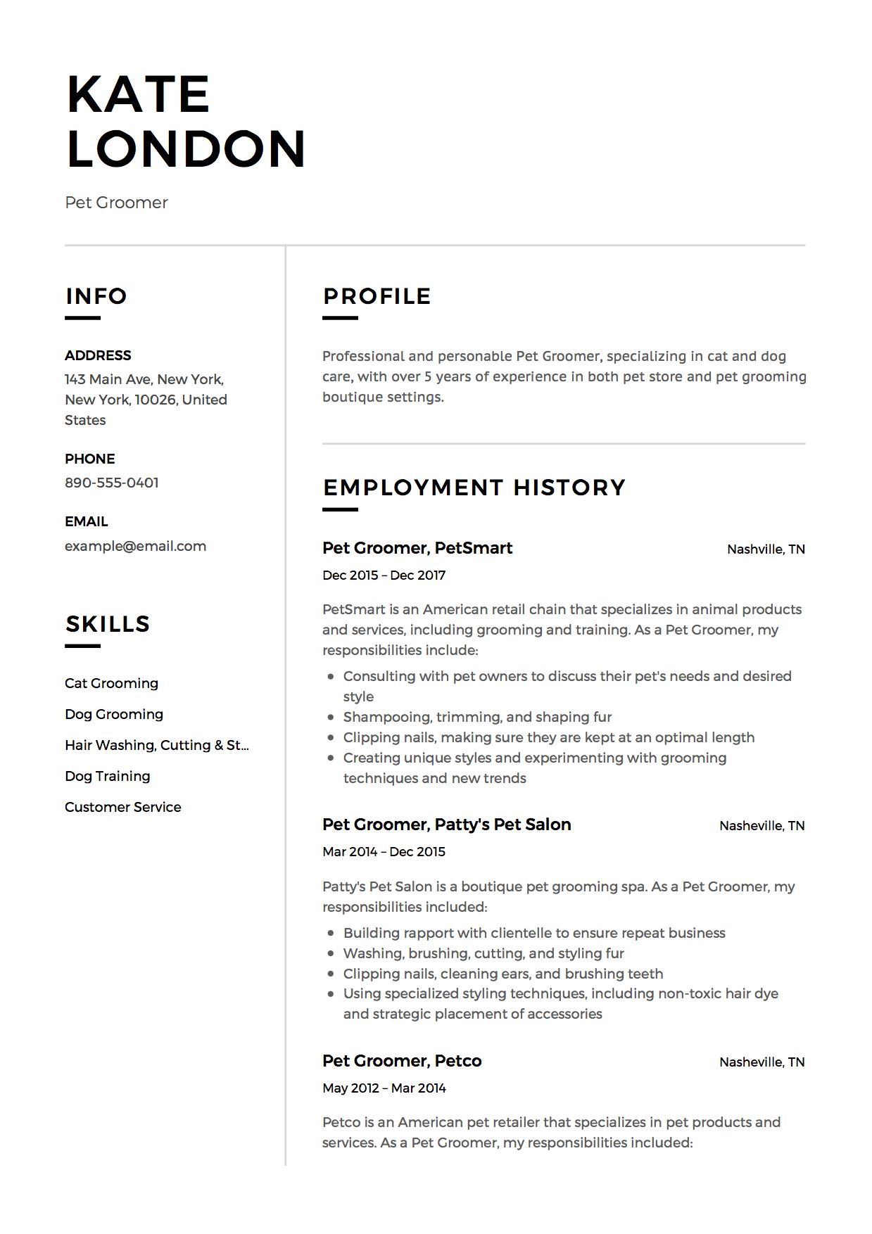 Wonderful Resume Pet Groomer Modern Intended For Dog Groomer Resume