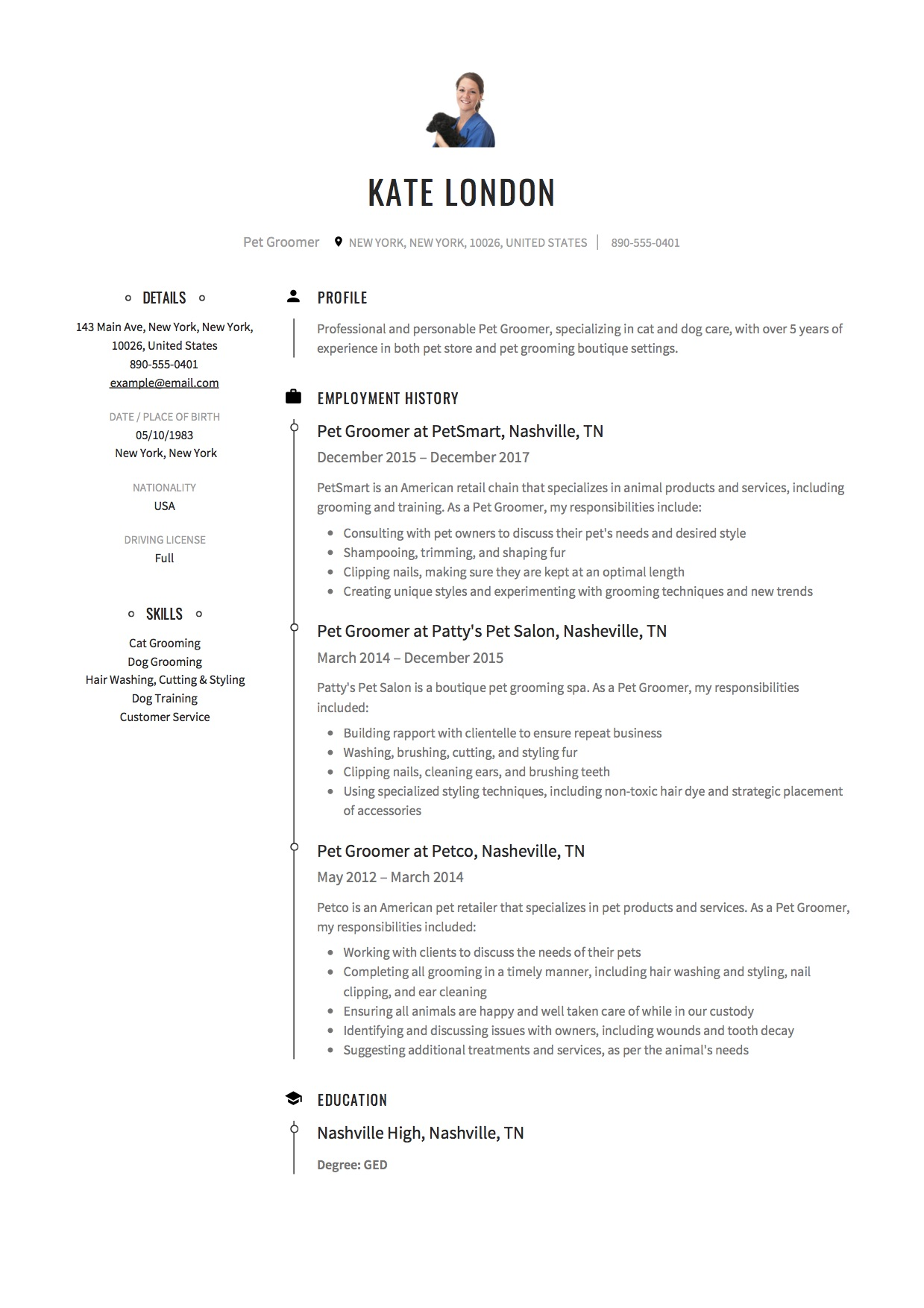 guide  pet groomer resume example     12 samples