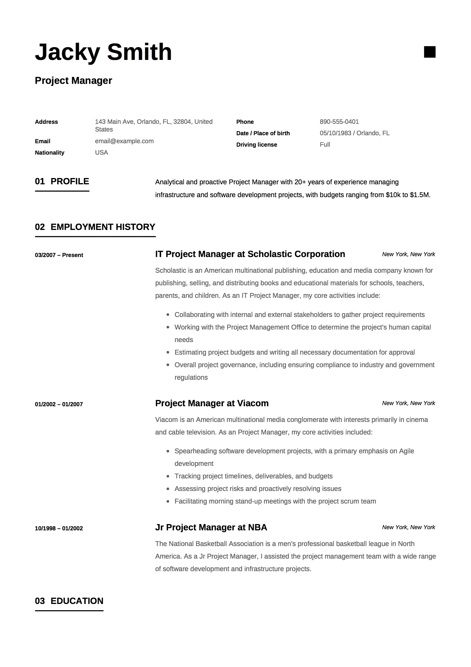 Resume - Project Manager-11