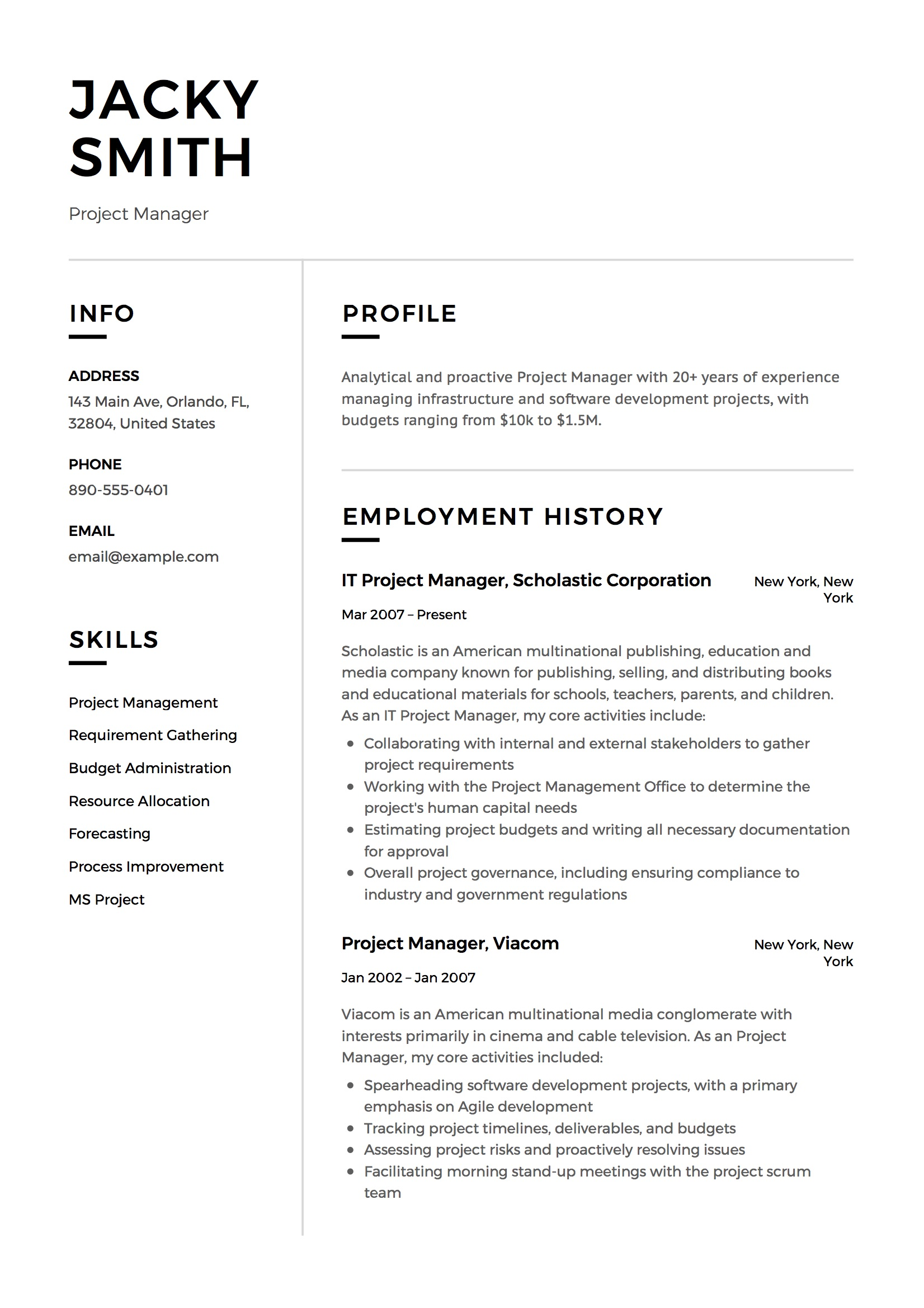 12 Project Manager Resume Sample S 2018 Free Downloads