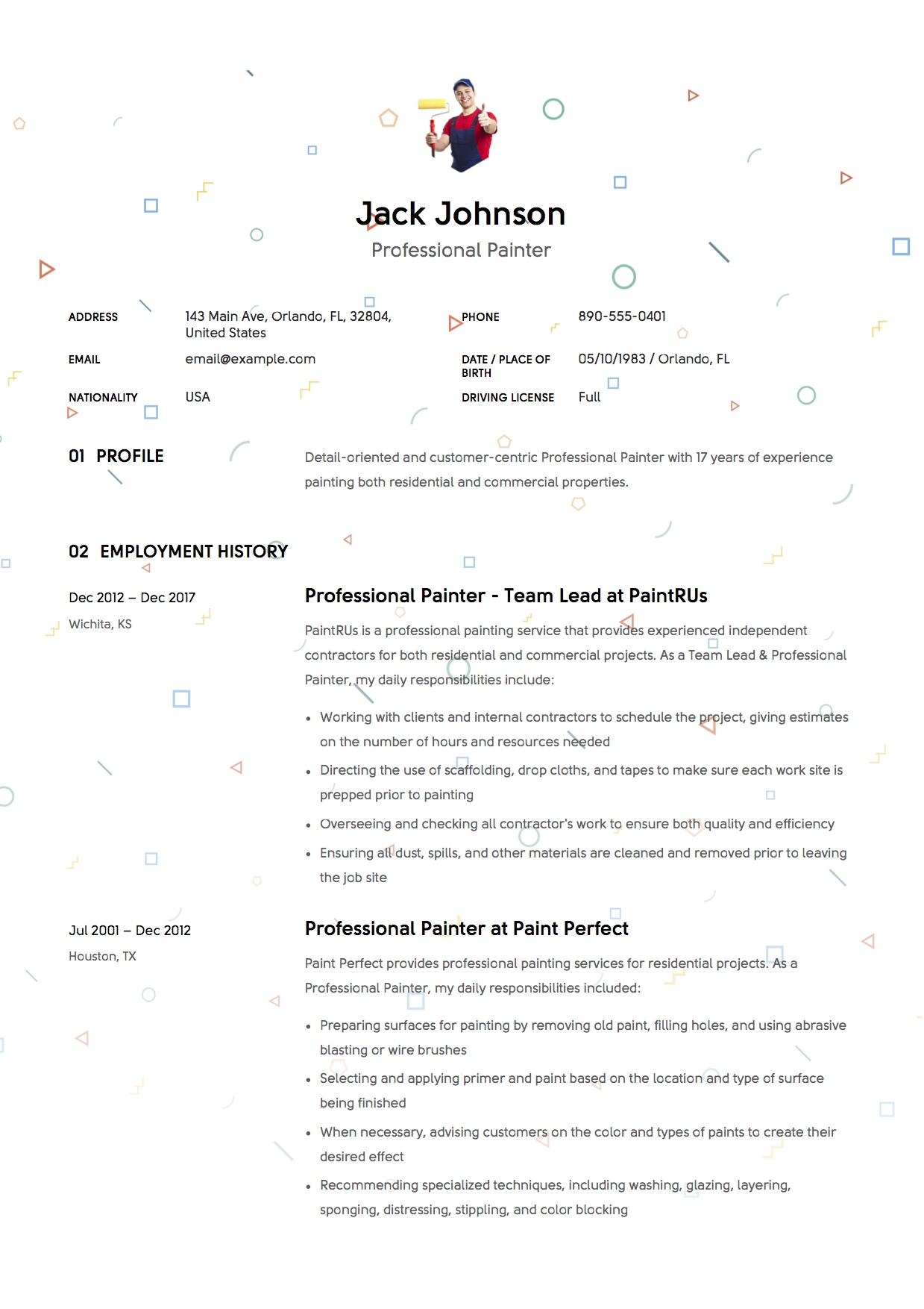12 commercial painter resume sample s