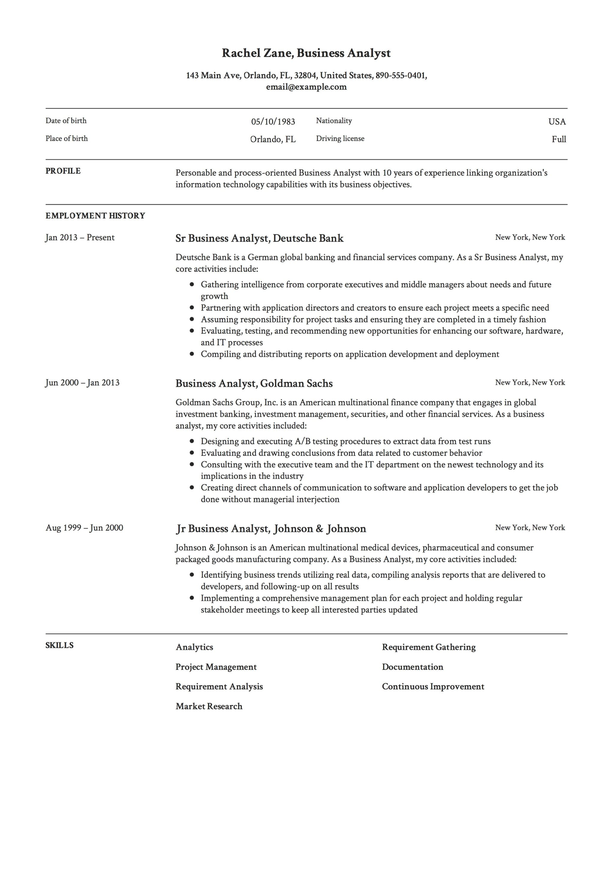 Resume Sample Business Analyst  Sample Business Resume