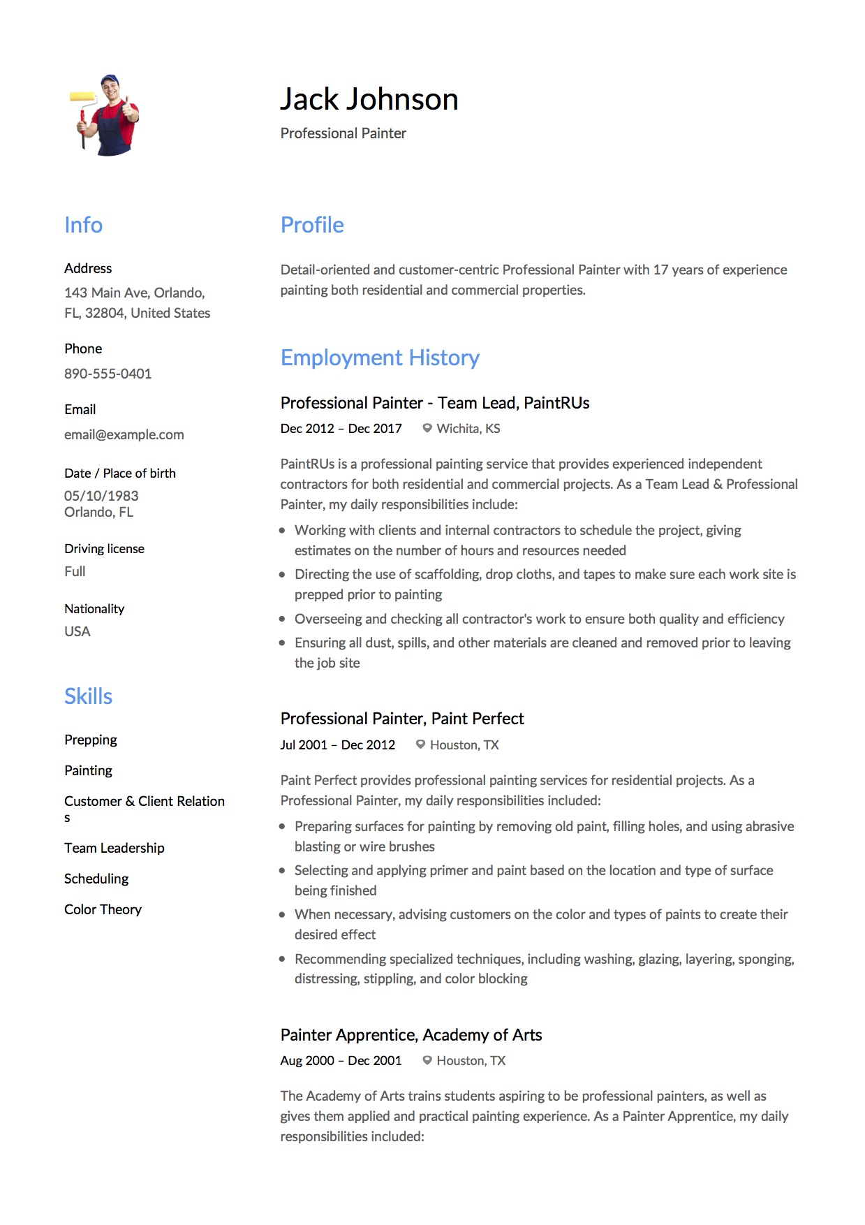 guide  commercial painter resume examples   12  samples