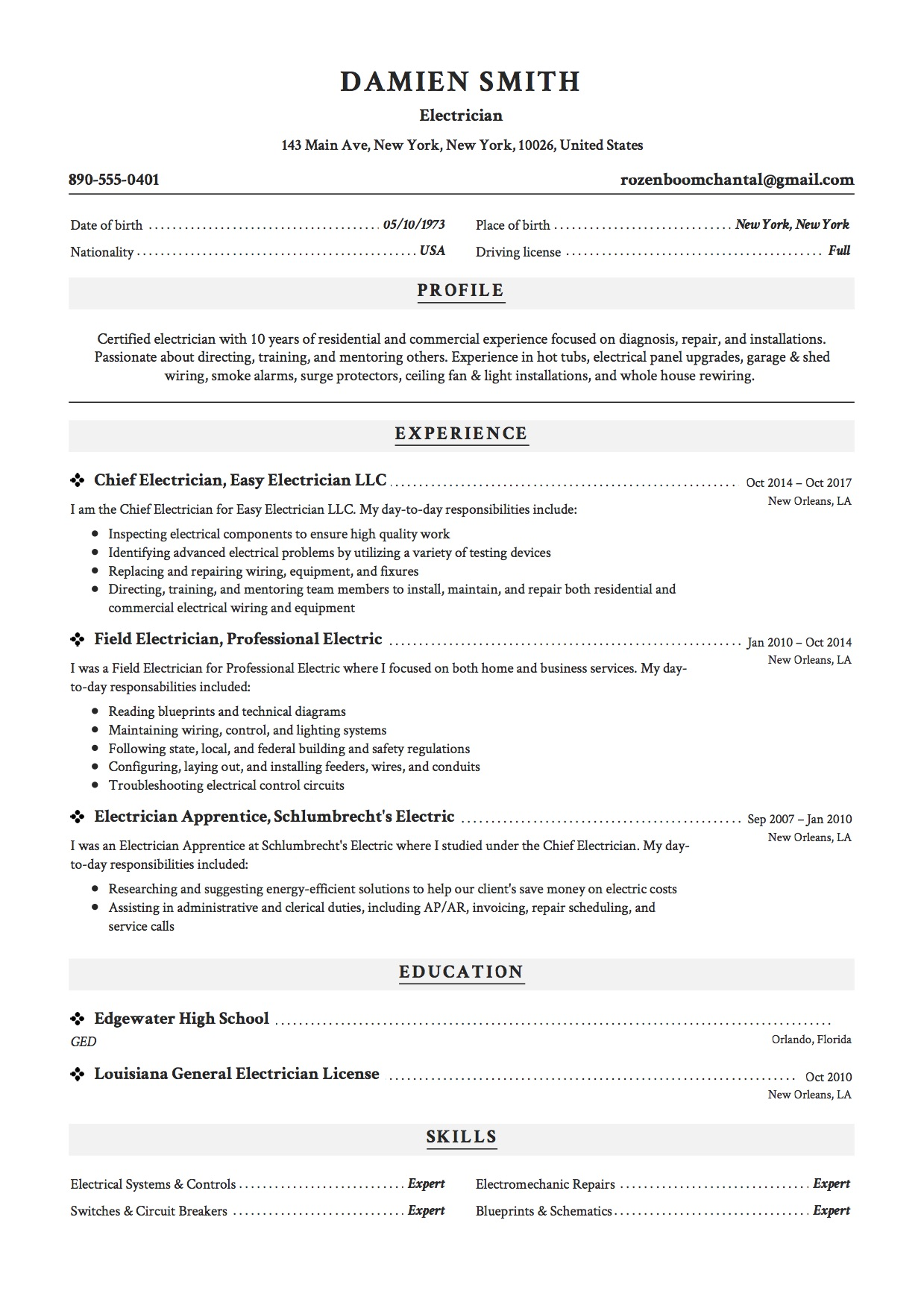 Resume Template Electrician  Electrician Resume Templates