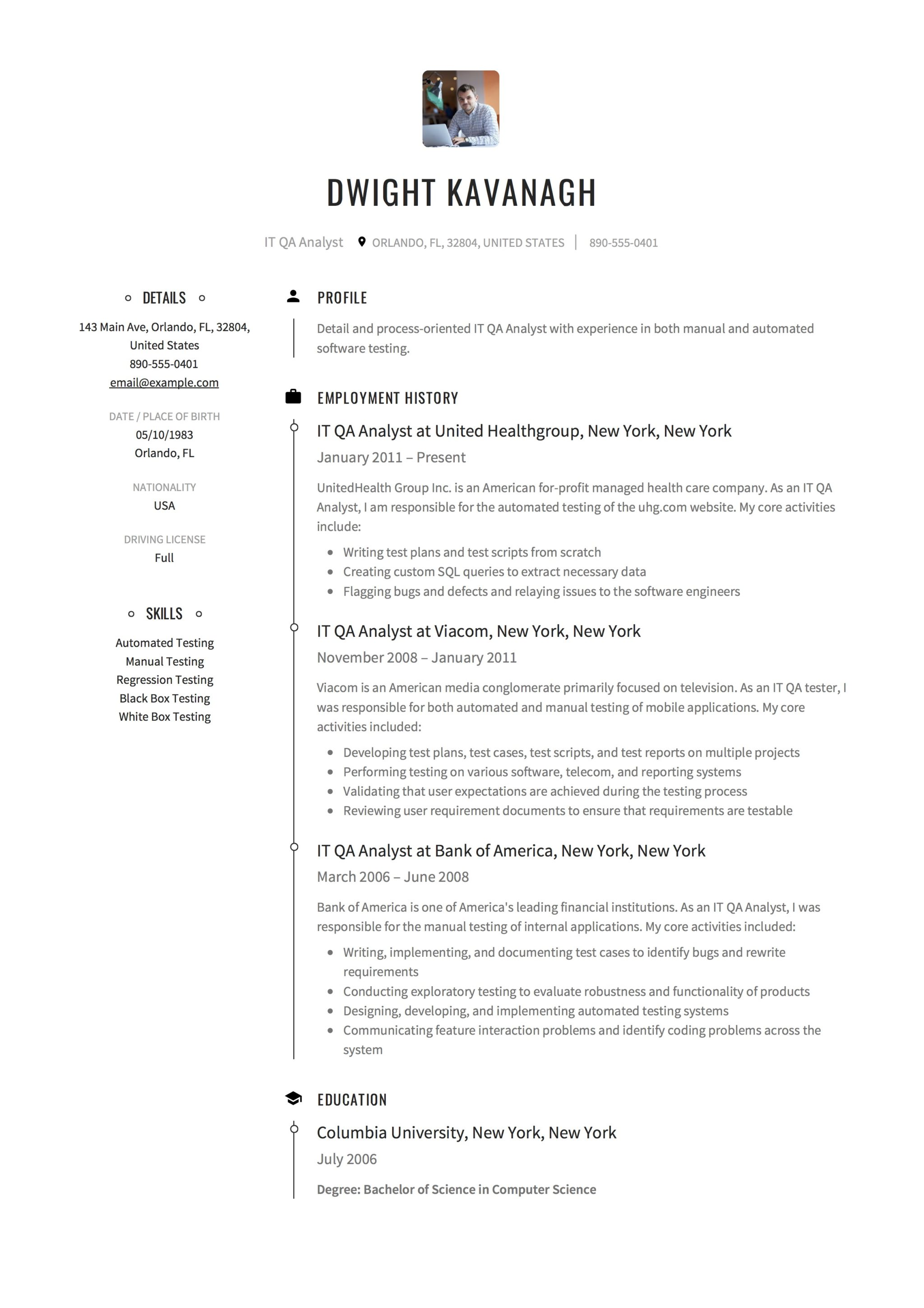 resume sample it qa analyst - Qa Resume Sample