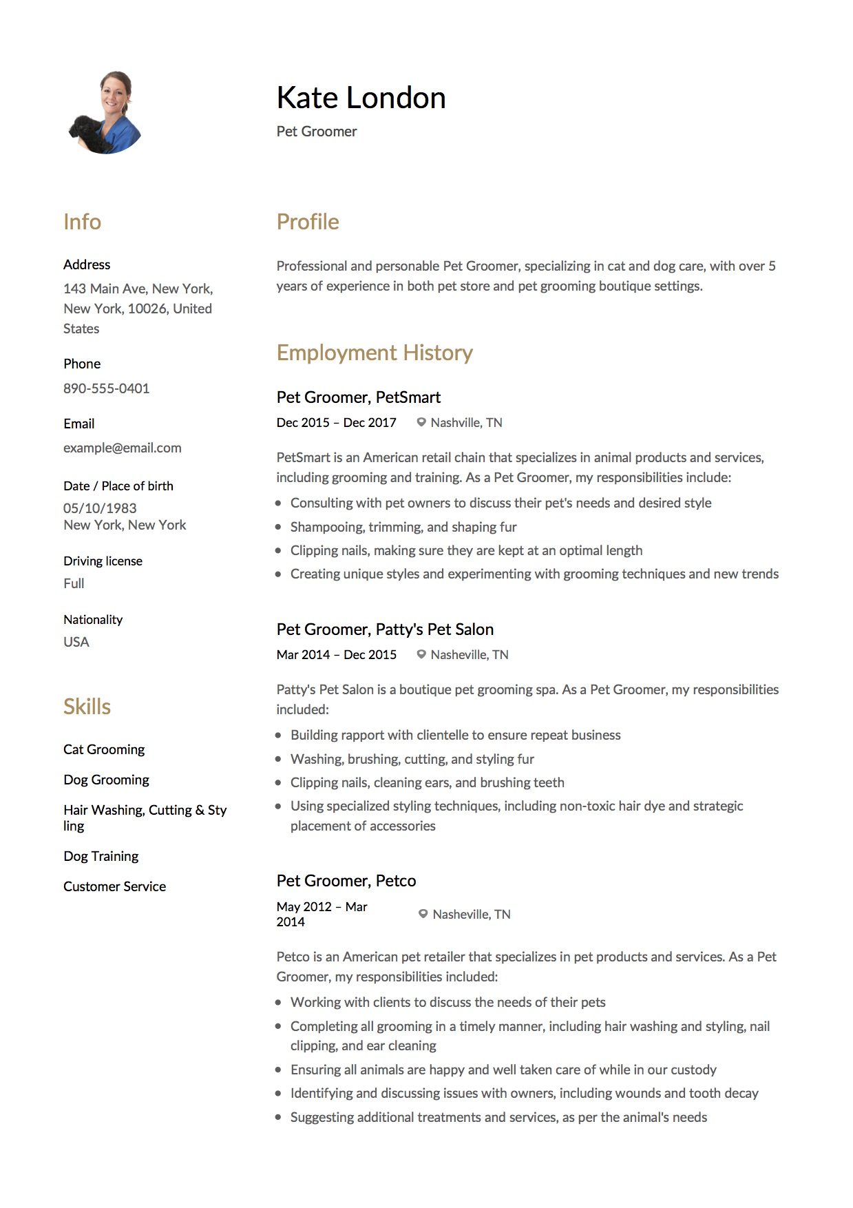Resume Sample Pet Groomer