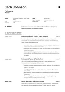 Resume Sample Professional Painter